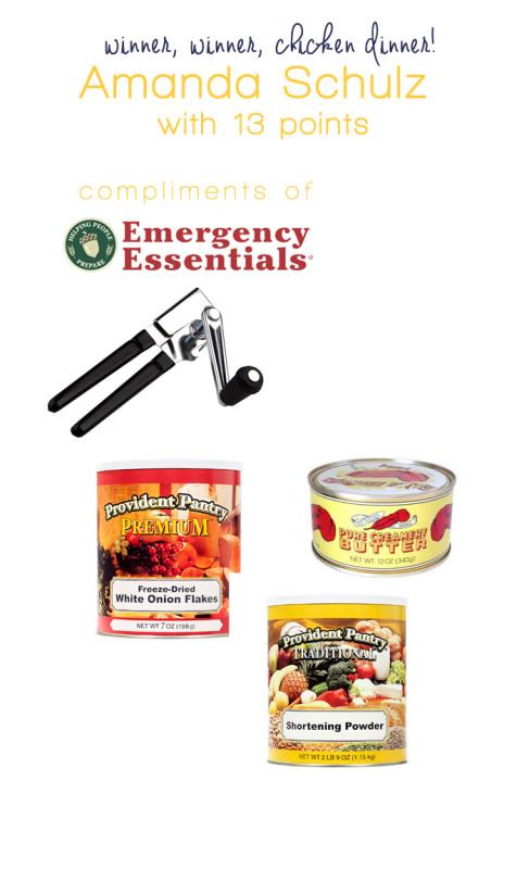 emergency essentials prize amanda schulz