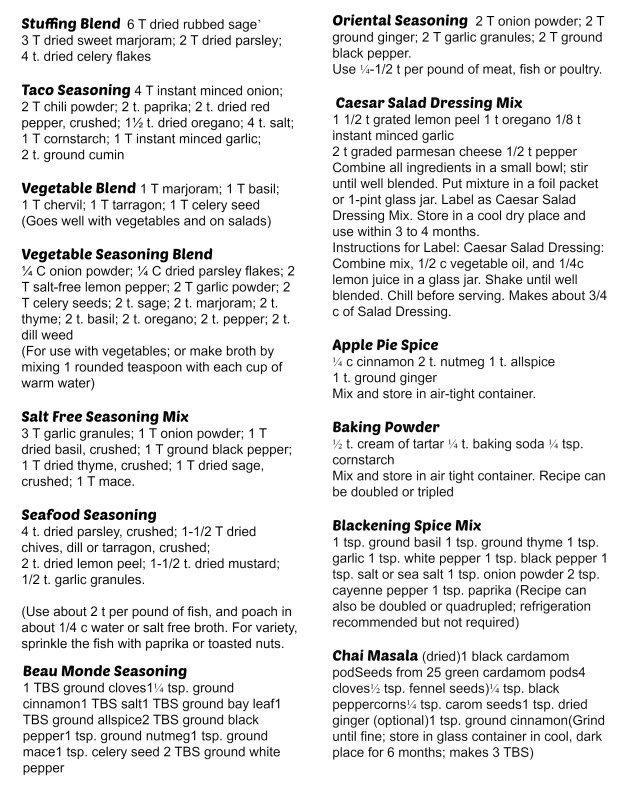 photo about Spice List Printable titled 46 Handmade Spice Mixes: Printable English + Spanish! - My